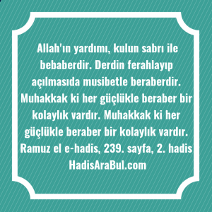 Allah'ın yardımı, kulun sabrı ile ... hadisinin tamamı