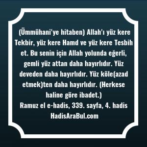 (Ümmühani'ye hitaben) Allah'ı yüz kere ... hadisi