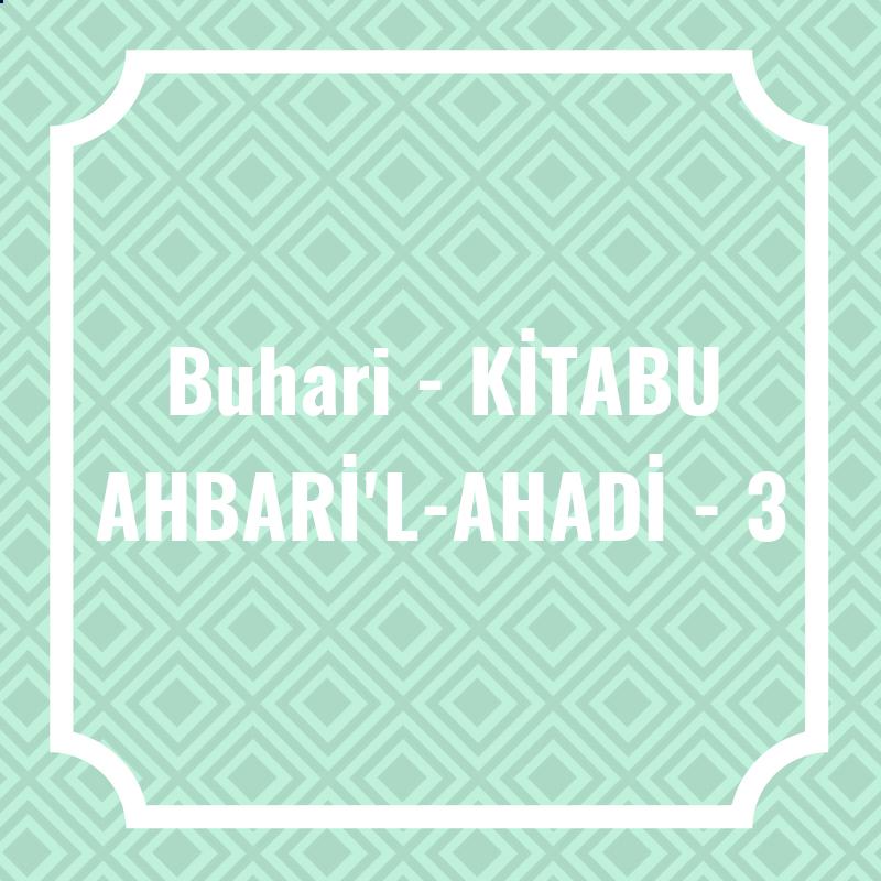 Buhari - KİTABU AHBARİ'L-AHADİ - 3
