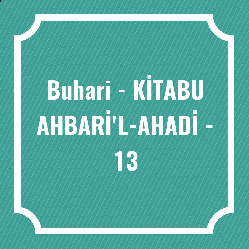 Buhari - KİTABU AHBARİ'L-AHADİ - 13