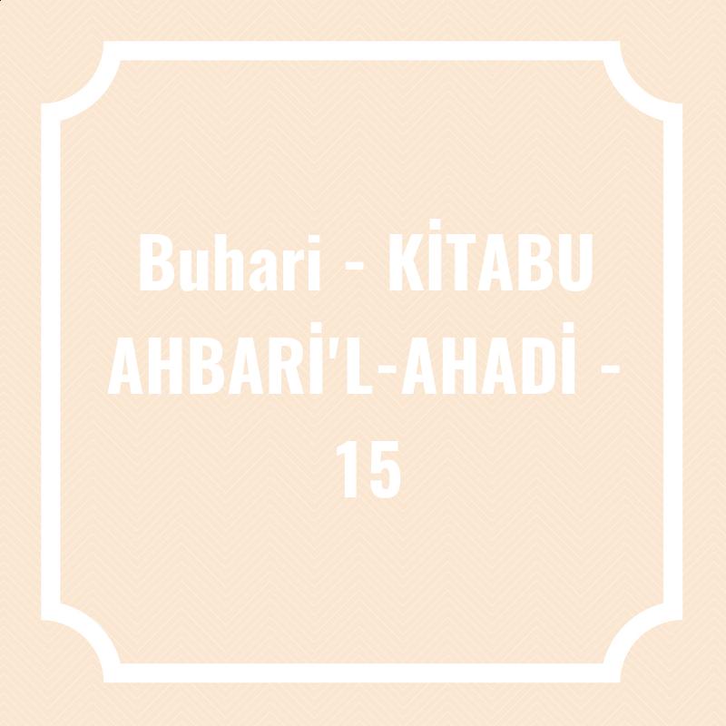 Buhari - KİTABU AHBARİ'L-AHADİ - 15