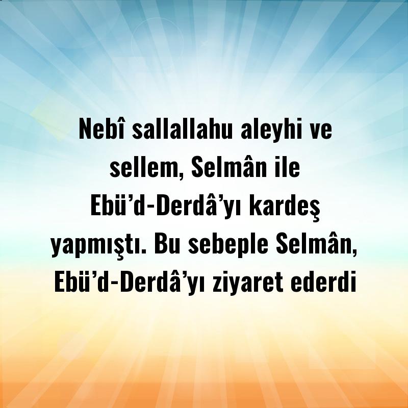 Nebî sallallahu aleyhi ve sellem, Selmân ile Ebü'd-Derdâ'yı kardeş yapmıştı. Bu sebeple Selmân, Ebü'd-Derdâ'yı ziyaret ederdi