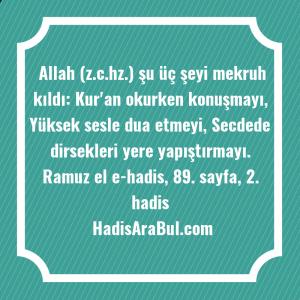 Allah (z.c.hz.) şu üç şeyi ... hadisi