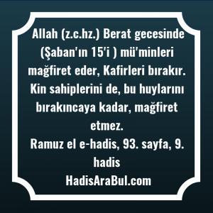 Allah (z.c.hz.) Berat gecesinde (Şaban'ın ... ile başlayan hadis