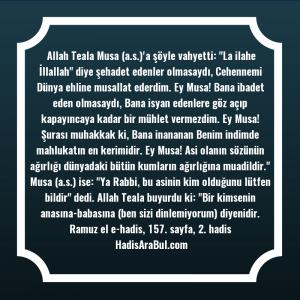 Allah Teala Musa (a.s.)'a şöyle ... hadisi