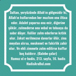 Sultan, yeryüzünde Allah'ın gölgesidir ki, ... hadisinin tamamı