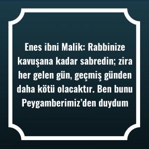 Enes ibni Malik: Rabbinize kavuşana kadar sabredin; zira her gelen gün, geçmiş günden daha kötü olacaktır. Ben bunu Peygamberimiz'den duydum